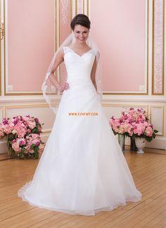 V-ringad Elegant & Lyxig Ärmlös Bröllopsklänningar 2014