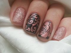Rose and Brown Nail art - pinky and index are OPI Make Him Mine and middle and ring are stamped using Pueen plate 73.