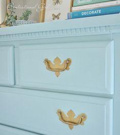 Dresser painted with Benjamin Moore Thunderbird. Fantastic tutorial from Centsational Girl