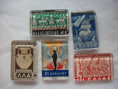 5 Vintage Postage Stamp Glass Magnets from Greece Ελλάδα Hellenic Republic One of a Kind Set Upcycle Recycle (5.00 USD) by BadCatCraft