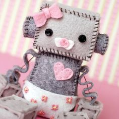 Girl Baby Robot Plush with a Diaper and Pacifier/Binky in Pink and White on Etsy, $30.00