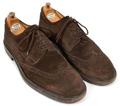 J CREW Dark Brown Suede Leather Wingtip Dress Shoes ITALY Mens Size 10.5 #JCrew #WingTip