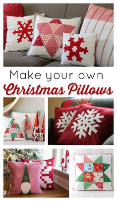 Sewing Pillows Over 18 different modern Christmas Quilt patterns including free tutorials for tree skirts and throw pillows. - Over 18 different modern Christmas Quilt patterns including free tutorials for tree skirts and throw pillows. Christmas Sewing Projects, Christmas Quilt Patterns, Christmas Applique, Christmas Sewing Gifts, Christmas Patchwork, Sewing Pillows, Diy Pillows, Throw Pillows, Pillow Ideas