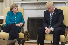Trump doesn't shake hands with Merkel  (( Etiquette says men only shakes hands if woman extends her hand out first)))