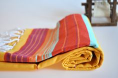 Turkish Towel Handwoven Peshtemal Towel for beach and bath in neon colors Yellow Red Turquoise Blue Orange