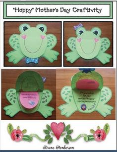 "Mother's Day activities: Quick, easy & fun ""Hoppy"" Mother's day flip the frog's face card.  Super cute!"