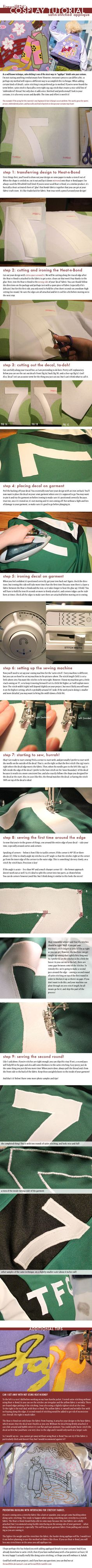 Cosplay Tutorial: Satin-Stitched Applique by firewolf826.deviantart.com on @deviantART