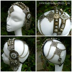 Zenobia Headdress by The Tribal Temptress Tribal Fusion, Estilo Tribal, Tribal Costume, Belly Dancing Classes, Tribal Belly Dance, Belly Dance Costumes, Head Accessories, Dance Outfits, Hair Jewelry