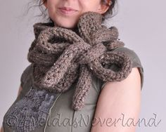 Hand knit chunky cable texture neckwarmer scarf cowl wrap with drawstrings bow - Twist Me Around by EveldasNeverland, $62.00