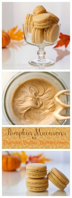 Pumpkin Macarons with Pumpkin Butter Buttercream Kürbis Macarons mit Kürbisbutter Buttercreme Baking Recipes, Cookie Recipes, Dessert Recipes, Pumpkin Recipes, Fall Recipes, Just Desserts, Delicious Desserts, Dessert Healthy, Macaroon Cookies