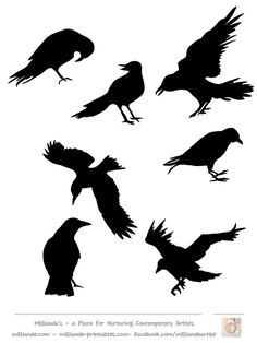 Free Printable Bird Silhouette Collection,Bird Templates & Bird Silhouettes for Artists,Milliande's Collection of Bird Stencil Templates for Artists, Art School Students of Art Portfolio Ideas Vogel Silhouette, Crow Silhouette, Silhouette Drawings, Halloween Crafts, Halloween Decorations, Halloween Jack, Halloween Town, Vintage Halloween, Bird Stencil