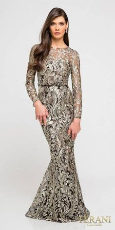 Long Sleeve Sheer Embroidered Trumpet Evening Dress by Terani Couture