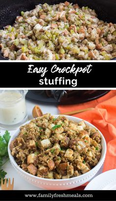 This Easy Crockpot Stuffing recipe is one of my favorite, classic Thanksgiving recipes. It's easy to make and will stay warm in the slow cooker until you are ready to serve. Crockpot Stuffing, Stuffing Recipes, Thanksgiving Recipes, Holiday Recipes, Thanksgiving Holiday, Slow Cooker, Crockpot Recipes, Healthy Recipes, Family Fresh Meals