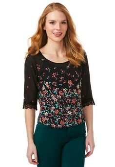 Cato Fashions Floral & Lace Skimmer Top-Plus #CatoFashions