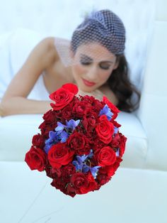 10 Red Wedding Bouquets! These bouquets are mildly mixed with gorgeous complementary colors such as purple, green, pink, and blue, orange, peach and more!!