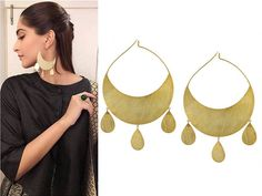 GET THIS LOOK  Sonam Kapoor completes her look with these delicate, chic, and gleaming gold finish earrings by Dhora.  #perniaspopupshop #shopnow #happyshopping