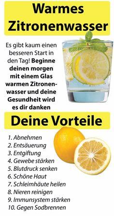 Start your day with warm lemon water - 10 G - Detox Keto Ideen Citrus Water, Warm Lemon Water, Infused Water, Water Recipes, Detox Recipes, Detox Drinks, Healthy Drinks, Fitness Workouts, Dietas Detox