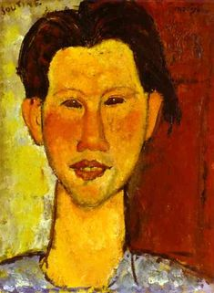 Portrait of Chaim Soutine. 1915. Oil on panel. 36 x 27.5 cm. Staatsgalerie, Stuttgart, Germany When Modigliani was in Montparnasse in Paris, he became friend of the Jewish painter Chaim Soutine. . portrait was painted in 1917.  The portrait was painted in an unusually rough impasto on the back of a wooden door  His lips parted in a smile show strong white teeth. His head rests on a long column of neck.
