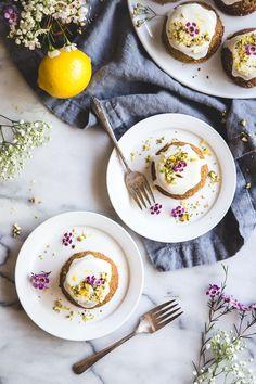Flourless Pistachio Cakes & Honey-Lemon Yogurt Glaze - Camille Styles
