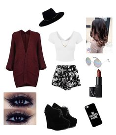 """""""Night Out"""" by lovepeace97 on Polyvore featuring Chicnova Fashion, Banana Republic, Zimmermann, Full Tilt, Casetify, NARS Cosmetics, Forever Link, blackandwhite, redaccents and boldlash"""