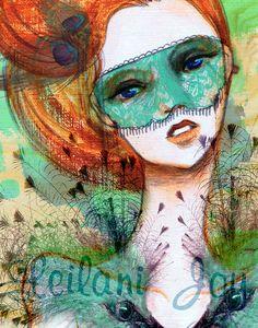 """Vanity Verde"" Acrylic and Photoshop. by Leilani Joy illustration Online Art Classes, Joy Art, Face Art, Art Faces, Disney Drawings, Beautiful Artwork, Amazing Artwork, Watercolor Art, Art Photography"