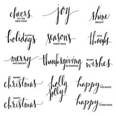 Hand Lettered Holiday Phrase Overlays / Clip Art
