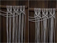 Kaarnan katveessa: Kuvalliset ohjeet: makramee seinävaate Macrame Projects, Clothes Hanger, Valance Curtains, Diy And Crafts, Crafty, Knitting, Creative, Wall, Handmade