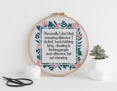 Personally I dont find swearing offensive cross stitch xstitch funny Insult pattern pdf Cross Stitching, Cross Stitch Embroidery, Embroidery Patterns, Hand Embroidery, Cross Stitch Patterns, Machine Embroidery, Naughty Cross Stitch, Funny Insults, Cross Stitch Quotes