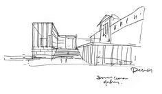 David Chipperfield sketch of his new, central entrance building of the Museumsinsel in Berlin.