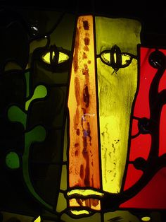 Foliate Head by John Piper, Winchester.  Detail of John Piper's stained glass screen in the foyer of the Wessex Hotel, Winchester.