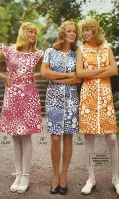Pirtsakat Fashion Over, 70s Fashion, Fashion History, Vintage Fashion, Fashion Outfits, Vintage Mode, Retro Vintage, Textile Patterns, Print Patterns