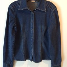 Dark Wash Jean Shirt Dark wash Jean shirt with snap front closure. Snitched detail on shoulders & back. Rubbish Tops