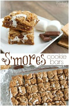 Delicious Smores in cookie bar form! Mmm. Soft, buttery, graham cracker-flavored cookie bars with smooth chocolate and gooey marshmallow layered throughout.