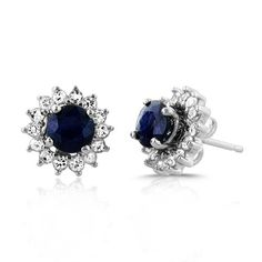 1.00ct TW Genuine Blue Sapphire Stud Earrings with White Sap