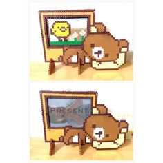 Rilakkuma frame perler beads by Diy Perler Beads, Perler Bead Art, Pearler Beads, Pixel Beads, Fuse Beads, Pearler Bead Patterns, Perler Patterns, Kawaii Diy, Beaded Boxes