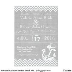 Nautical Anchor Chevron Beach Wedding Card Nautical grey and white rustic anchor and zigzag or chevron style design. Anchor design with rope and the look of grey burlap on this unique beach wedding invitation.