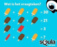 Rekenen met ijsjes. Wat is het vraagteken? Antwoord: 19. Het gele ijsje staat voor 10. Het bruine ijsje staat voor 7. Het dubbele rode ijsje is 4. In het laatste sommetje staat er maar een half ijsje. Dat betekent dat de uiteindelijk soms was: 2 + 7 + 10 = 19. Meer raadsels van Squla? Volg ons dan op Instagram en Facebook! Escape The Classroom, Escape Room For Kids, Games For Kids, Diy For Kids, Math Logic Puzzles, Riddles With Answers, Train Your Brain, Picture Puzzles, Brain Games