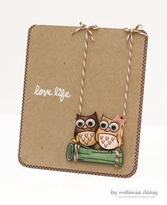 This layout would make a  cute wedding / anniversary card using the SU owl punch! |Pinned from PinTo for iPad|