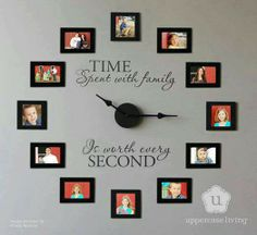 Family Photo Wall Clock. I think it would be cute to have pictures with the kids holding the numbers