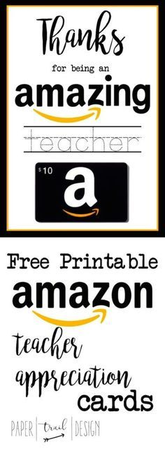 Free Printable Amazon Teacher Appreciation Card . Give your child\'s teacher something they actually want!
