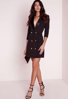 Missguided Long Sleeve Tuxedo Dress ($72): The perfect blend of masculine and feminine, this black blazer dress is as fierce as it gets! The structured cut, silk collar and gold buttons are beyond chic.