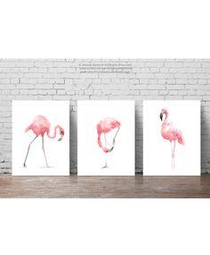 Rosa Flamingo-Set 3 Kunstdrucke Flamingos skurrilen