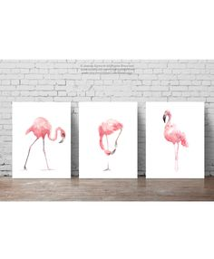 Pink Flamingo Set 3 Art Prints, Flamingoes Whimsical Tropical Artwork, Pink Bird Wall Decor, Flamingos Wall Art Abstract Watercolor Painting by ColorWatercolor on Etsy