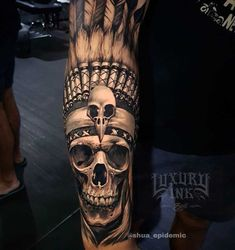 indian feathers skull tattoo Arm Tattoo Indian Skull by Luxury Ink Hand Tattoos, Tattoos Bein, Forearm Tattoos, Sleeve Tattoos, Skull Hand Tattoo, Totem Tattoo, Trendy Tattoos, Tattoos For Guys, Cool Tattoos