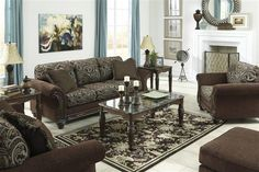 Shop Grantswood Traditional Classics Cocoa Fabric Living Room Set with great price, The Classy Home Furniture has the best selection of to choose from Living Room Sets, Living Room Decor, Benchcraft Furniture, Beautiful Living Rooms, Fabric Sofa, Sofa Set, Traditional Design, Accent Decor, Cocoa