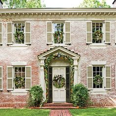 Southern Living Magazine | pretty, natural and soft Christmas exterior.