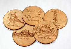 Set of 5 Cincinnati wood laser cut coasters by PineconeHome