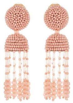 Shop for Oscar de la Renta Short Tassel Earrings and designer Earrings at the official ODLR website. Beaded Tassel Earrings, Crochet Necklace, Beaded Bracelets, Drop Earrings, Metal Jewelry, Diy Jewelry, Jewelry Making, Triangle Earrings, Wedding Jewelry Sets