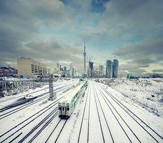 canada, toronto - my everyday life Canada Eh, Canada Ontario, Downtown Toronto, Toronto City, Nostalgia, Train Tracks, Favim, Cn Tower, Trains