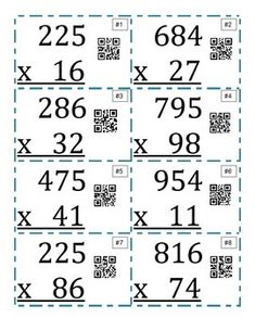 Twelve task cards that ask students to multiply a three digit number by a two digit number. You can use these in your classroom in so many different ways! Each card has a QR code, so students can self-check. I also included an answer sheet and an answer key, if you would rather use it as more of an assessment or carousel activity.